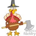 6895_royalty_free_clip_art_turkey_with_pilgram_hat_and_axe  gif, png, jpg, eps, svg, pdf