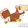 Royalty Free RF Clipart Illustration Happy Turkey Bird Cartoon Character Running With A Blank Wood Sign