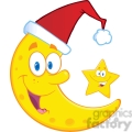 Royalty Free RF Clipart Illustration Smiling Crescent Moon With Santa Hat And Happy Christmas Star Cartoon Characters