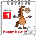 royalty free rf clipart illustration happy new year calendar with open arms smiling horse  gif, png, jpg, eps, svg, pdf