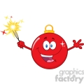 Royalty Free RF Clipart Illustration Happy Red Christmas Ball Cartoon Mascot Character Holding A Sparkler