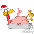 royalty free rf clipart illustration smiling turkey bird with santa hat in the pan giving a thumb up