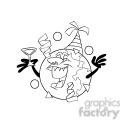 happy new year earth cartoon black white
