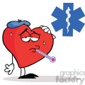 Flu Ridden Red Heart with a Thermometer in his Mouth in font of a Red Cross