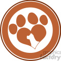 royalty free rf clipart illustration love paw print brown circle banner design with dog head silhouette gif, png, jpg, eps, svg, pdf