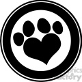 royalty free rf clipart illustration love paw print black circle banner design  gif, png, jpg, eps, svg, pdf