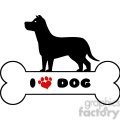 royalty free rf clipart illustration dog black silhouette over bone with text and red love paw print vector illustration isolated on white background gif, png, jpg, eps, svg, pdf