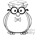 Royalty Free RF Clipart Illustration Black And White Wise Owl Teacher Cartoon Character With Glasses And Graduate Cap