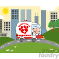 royalty free rf clipart illustration doctor driving veterinary ambulance in the city  gif, png, jpg, eps, svg, pdf