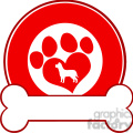 royalty free rf clipart illustration veterinary red circle label design with love paw dog and bone  gif, png, jpg, eps, svg, pdf