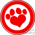 royalty free rf clipart illustration love paw print red circle banner design  gif, png, jpg, eps, svg, pdf