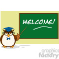 illustration wise owl teacher cartoon mascot character in front of school chalk board with text  gif, png, jpg, eps, svg, pdf