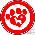 royalty free rf clipart illustration veterinary love paw print red circle banner design with dog and cross gif, png, jpg, eps, svg, pdf