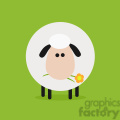 8220 Royalty Free RF Clipart Illustration Cute White Sheep With A Flower Modern Flat Design Vector Illustration