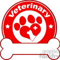 Royalty Free RF Clipart Illustration Veterinary Red Circle Label Design With Love Paw Dog, Cross And Bone Under Text