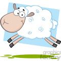 7103 royalty free rf clipart illustration white sheep cartoon mascot character jumping  gif, png, jpg, eps, svg, pdf
