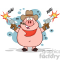 7152 Royalty Free RF Clipart Illustration Cowboy Pig Cartoon Character Shooting With Two Guns