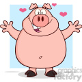 7146 Royalty Free RF Clipart Illustration Happy Pig Cartoon Mascot Character Open Arms For Hugging