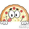 7139 Royalty Free RF Clipart Illustration Funny Pizza Cartoon Mascot Character Over A Sign