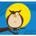 royalty free rf clipart illustration owl on tree in the night  gif, png, jpg, eps, svg, pdf