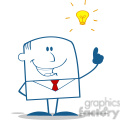 Royalty Free RF Clipart Illustration Happy Businessman With A Bright Idea Monochrome Cartoon Character