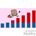 royalty free rf clipart illustration african american businessman giving a thumb up and running over growing bar chart cartoon character on background gif, png, jpg, eps, svg, pdf