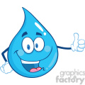 Royalty Free RF Clipart Illustration Happy Water Drop Character Giving A Thumb Up