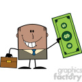 Royalty Free RF Clipart Illustration Lucky African American Businessman With Briefcase Holding A Dollar Bill Cartoon Character