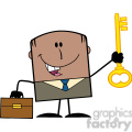Royalty Free RF Clipart Illustration Happy African American Businessman With Briefcase Holding A Golden Key Cartoon Character