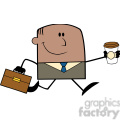 Royalty Free RF Clipart Illustration Lucky African American Businessman Running To Work With Briefcase And Coffee Cartoon Character