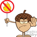 Royalty Free RF Clipart Illustration Angry Acorn Cartoon Mascot Character Holding Up A Fire Stop Sign