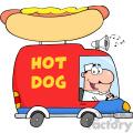 Royalty Free RF Clipart Illustration Happy Hot Dog Vendor Driving Truck