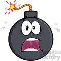 royalty free rf clipart illustration scared bomb cartoon character  gif, png, jpg, eps, svg, pdf