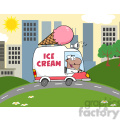 royalty free rf clipart illustration african american ice cream man driving truck in the town  gif, png, jpg, eps, svg, pdf