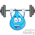 Royalty Free RF Clipart Illustration Water Drop Character Lifting Weights