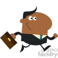 8269 Royalty Free RF Clipart Illustration Smiling African American Manager With Briefcase Running To Work Modern Flat Design Vector Illustration