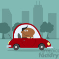 8266 Royalty Free RF Clipart Illustration Smiling African American Manager Driving Car To Work In Modern Flat Design Vector Illustration