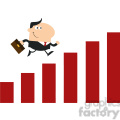 8291 Royalty Free RF Clipart Illustration Manager Running Over Growth Bar Graph Flat Design Style Vector Illustration