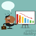 8364 Royalty Free RF Clipart Illustration Angry African American Manager Pointing To A Decrease Chart On A Board Flat Style Vector Illustration With Speech Bubble