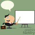 8348 Royalty Free RF Clipart Illustration Happy Manager Pointing To A White Board Flat Style Vector Illustration With Speech Bubble