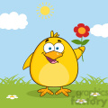 8602 Royalty Free RF Clipart Illustration Happy Yellow Chick Cartoon Character With A Red Daisy Flower Vector Illustration With Background