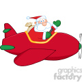 8201 Royalty Free RF Clipart Illustration Santa Claus Flying A Plane And Waving