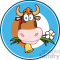 Royalty Free RF Clipart Illustration Cartoon Circle Label With Cow