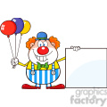 Royalty Free RF Clipart Illustration Funny Clown Cartoon Character With Balloons Showing A Blank Sign