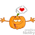 Funny Halloween Jackolantern Pumpkin Cartoon Mascot Character With Open Arms For Hugging And Speech Bubble With Heart vector clip art image