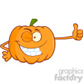 Royalty Free RF Clipart Illustration Winking Halloween Jackolantern Pumpkin Cartoon Mascot Character Giving A Thumb Up vector clip art image