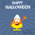 8872 Royalty Free RF Clipart Illustration Funny Candy Corn Flat Design Waving Vector Illustration With Bacground And Text