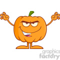 Royalty Free RF Clipart Illustration Scaring Halloween Pumpkin Cartoon Mascot Character vector clip art image