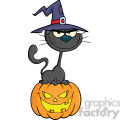 royalty free rf clipart illustration halloween black cat with a witch hat on pumpkin cartoon character gif, png, jpg, eps, svg, pdf