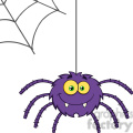 8953 Royalty Free RF Clipart Illustration Smiling Purple Halloween Spider Cartoon Character On A Web Vector Illustration Isolated On White